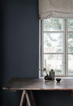 Sashiko by Sandberg - Navy - Wallpaper : Wallpaper Direct Dark Blue Wallpaper, Bold Wallpaper, Blue Wallpapers, Pattern Wallpaper, Sandberg Wallpaper, Marimekko Wallpaper, Sashiko Embroidery, Japanese Embroidery, Embroidery Art