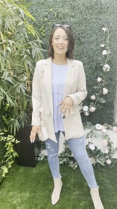 Blue smock top, smock style top, blue stripe top, casual outfit, beige blazer, autumn outfit inspo