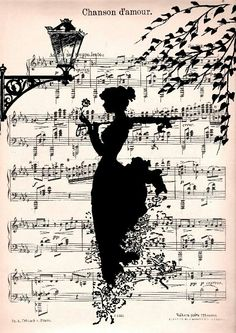 Sillouette on music sheet - this...yes....must do and frame
