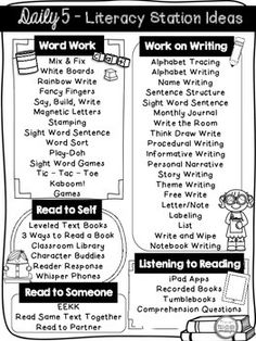 FREE Daily 5 Menu & Literacy Station Ideas Printable I have compiled ideas to use for Daily The girth of these ideas stem from Work on Writing and Word Work. I have received a lot of questions from new teachers on how& to do at those stations! Daily 5 Reading, First Grade Reading, Teaching Reading, Guided Reading Groups, Guided Reading Organization, Guided Reading Activities, Guided Reading Lessons, Reading Resources, Reading Skills