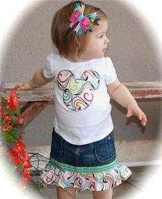 Custom Boutique Disney Vacation Girls Baby Toddler Swirl Rainbow color applique MICKEY MINNIE MOUSE Shirt Denim Ruffle Skirt RibbonSet. $68.00, via Etsy.