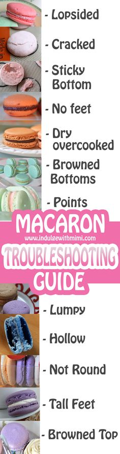 Macaron Troubleshooting Guide and Fixes! By Indulge with Mimi Answers to common problems like hollow macarons, cracked, deflated, lopsided, lumpy and soft shells. Macaron troubleshooting guide and links to Mimi's best macaron recipe and tutorials. Best Macaron Recipe, Macaroon Recipes, Macaron Flavors, Baking Tips, Baking Recipes, Cookie Recipes, Baking Secrets, Baking Hacks, Cooking Tips