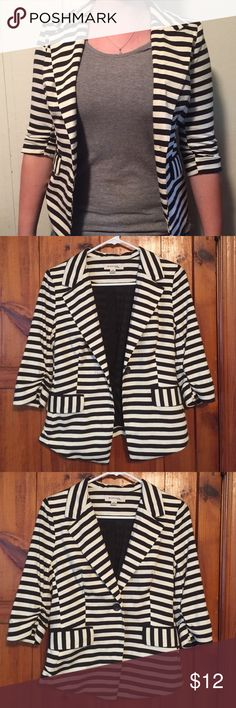 Striped Blazer Black and white striped 3/4 sleeve blazer. Super soft, comfy and stretchy. Never been worn Monteau Jackets & Coats Blazers