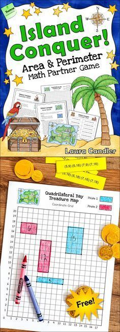 Island Conquer Area and Perimeter Quest is a free pirate-themed partner math game that your kids will LOVE! Click over to Laura Candler's TpT store to download it now!