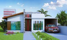Projetos Prontos de Casas Térrea com 3 quartos sendo 1 suite com closet e espaço gourmet. 2 vagas garagem. Planta e projeto pronto de casa e sobrado. Veja