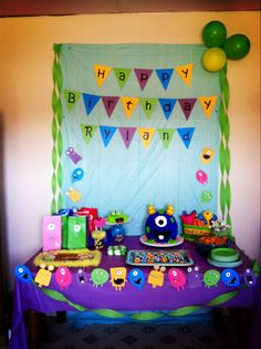 Monster themed birthday party. Cute row of monsters as garland.