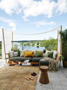 Peaceful sofa: A rustic, bohemian, outdoor space for relaxation.