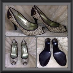 Guess heels size 7M Guess by Marciano dark brown & beige heels, size 7M. They're in very good used condition, only used a couple of times since they would slip out sometimes. I can wear a 7 1/2, yet this fit a little big, must be the M, they might be better for someone that wears a true 7 1/2 or 8. Guess Shoes Heels
