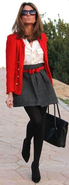 Women's Red Tweed Jacket, White Button Down Blouse, Black and White Polka Dot Skater Skirt, Black Suede Pumps