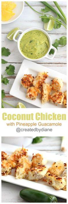 coconut chicken with pineapple guacamole @createdbydiane