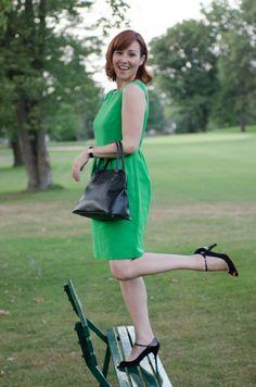 Green #jcrew dress with black accessories!