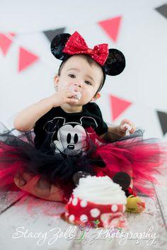 Cake Smash | One Year Birthday | Portraits | Minnie Mouse | Mickey Mouse | Stacey Zoll Photography | Kansas |