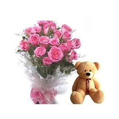 A selection to the pink roses withTeddy bear. A great gift! Bunch of 20 Dark pink (Magenta) roses with 6 Inch Teddy Bear.