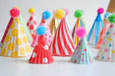 stuffed owl favors party diy: party hat cupcake toppers Cute idea for the front door Use dollar store plastic tablecloths to decorate doorwa. Diy Party Hats, Circus Party, Elmo Party, Mickey Party, Dinosaur Party, Cupcake Party, Diy Cupcake, Childrens Party, 1st Birthday Parties