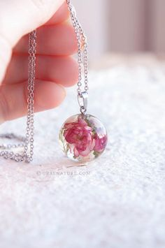 Flowering almond and Baby's breath dried flowers Necklace