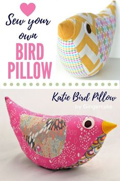 Katie Bird pillow sewing pattern by Gingercake. I love how you could match the fabrics to your decor. Very fun! Looks simple too!