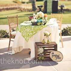 Green and White Damask Sweetheart Cocktail hour Table