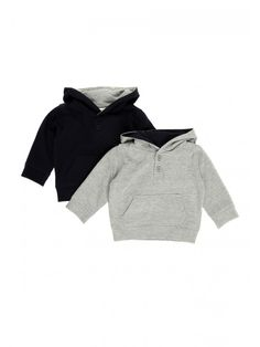 Keep your little one warm this spring/summer in this two pack of sweater hoodies. The pack includes two sweater hoodies in grey and navy, with a two button u...