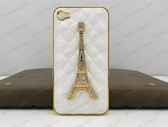 iphone case golden Eiffel Tower phone case white by dnnayding, $18.99
