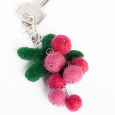 Wool Needle Felted Keychain Bag Charm with  Red Pink Berries Cranberries Key Ring Christmas Valentines Mother Day   Present Gift