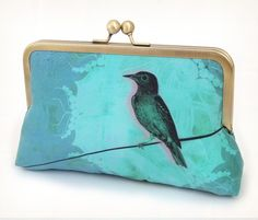 Clutch bag bridesmaid gift wedding purse teal by redrubyrose, $85.00