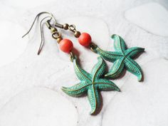 Patina starfish earrings with orange turquoise beads, nature jewelry, Selma Dreams whimsical jewelry gifts and accessories for her by SelmaDreams on Etsy