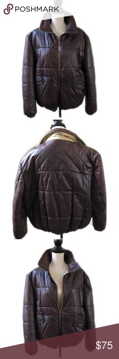 BILL BLASS Brown Leather Bomber Puffer Jacket XL Beautiful! Butter soft leather Bill Blass Puffer Bomber Aviator Leather Jacket Coat  Size Extra Large XL. Vintage beautiful saffron brown Bill Blass soft, butter leather puffer leather jacket coat. Don't miss out on this quality, made in the USA Bomber jacket. Super rare. Insulated Puffer.  Measurements: *chest measurement is 48 inches  *length measurement is 26.5 inches Bill Blass Jackets & Coats Bomber & Varsity