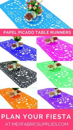 Plan your fiesta at Mexfabricsupplies.com | Fiesta theme decor | Fiesta theme ideas | Papel Picado | Papel picado table runners | Fiesta table runners | Fiesta centerpieces