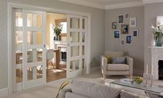 Kitchen Living Rooms Sliding Doors from Living to Kitchen/ Diner Primed 4 Panel Shaker Glazed - Make your living room more secure, cosy and stylish with our living room door ideas. Internal Sliding Doors, Sliding Partition Doors, Internal Glazed Doors, Glass Partition Wall, Sliding French Doors, Internal French Doors, Sliding Wall, Room Divider Doors, Room Dividers