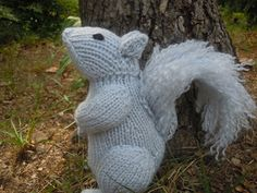 This squirrel is knit in the round, with short rows shaping the curved back and head. His bushy tail is easy to make using the same yarn as for the body. Finished size is about 7 inches tall, and 3 inches wide.
