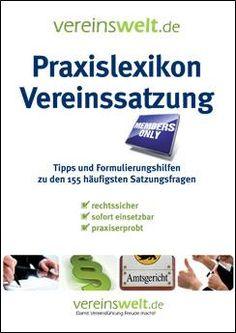 Praxislexikon Vereinssatzung First Aid, Tips