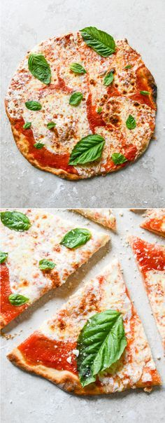 The EASIEST thin crust pizza - NO RISE dough!!  Have pizza made in 30 minutes. I howsweeteats.com
