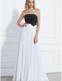 Chiffon Strapless A-Line Prom Dress with Pleated Skirt