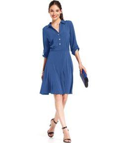 NY Collection Long-Sleeve Shirtdress