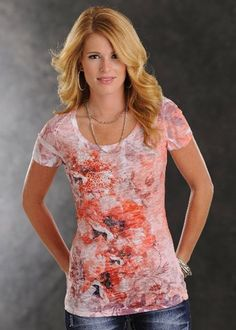 Womens Panhandle Slim Orange Floral Print Burnout Short Sleeve Shirt