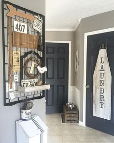 Just finished up my Saturday DIY... Old crib springs turned decor board!  I have been collecting vintage items like the yard stick, newspaper ad, bingo card, license plate, printer drawer and metal pulley to display here.    Wall color Fashion Gray by Behr   Trim Bleached Linen also by Behr   doors custom color match to Americana Decor craft chalky finish paint in Relic    #diy #cribspring #repurpose #vintagedecor
