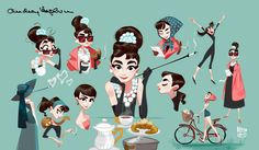 """hebro character design: """"For me the only things of interests are those linked to the heart"""" - Audrey Hepburn- Audrey Hepburn Arte, Audrey Hepburn Illustration, Audrey Hepburn Drawing, Mouth Cartoon, Cartoon Art, Character Concept, Character Art, Concept Art, Eye Manga"""
