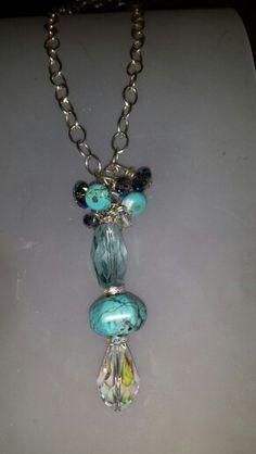 Swarovski and turquoise drop pendant