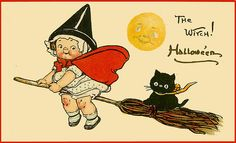Love the Campbell's Soup girl style witch character. #witch #vintage #Halloween