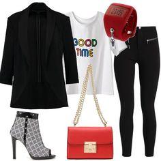 Pantaloni+neri+molto+aderenti+e+a+vita+alta,+t-shirt+di+cotone,+bianca+e+con+stampa,+blazer+nero,+aperto+sul+davanti+e+con+maniche+a+3/4,+stivaletti+open+toe,+in+fantasia+bianco+e+nero,+con+zip+e+strass+applicate,+borsa+a+tracolla+rossa+in+finta+pelle+e,+completiamo+con+un+simpatico+orologio+da+polso,+anch'esso+rosso.