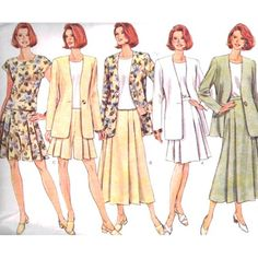 Butterick Sewing Pattern 4506 Misses' / Miss Petite Jacket, Top, Skirt, Shorts Size: 12-14-16 Uncut