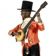 571: Rare Black Banjo-Player Automaton by Lambert, c. 1 : Lot 571