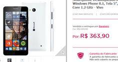 """Microsoft Lumia 640 LTE Branco Windows Phone 8.1 Tela 5"""" 4G Câmera 8MP e Processador Quad Core 1.2 GHz << R$ 36390 >>"""