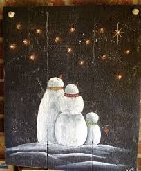 Image result for night sky snowman painted on wood