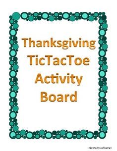 Thanksgiving TicTacToe Choice Board