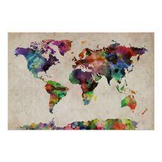 Trademark Art Home,Michael Tompsett 'Urban Watercolor World Map' Canvas Art, Décor Trademark Art Wall Décor Home Watercolor World Map, Watercolor Canvas, Watercolor Tattoo, Watercolor Artists, World Map Art, World Map Canvas, Painting Prints, Art Prints, Canvas Prints