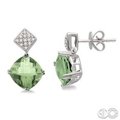 Cushion cut green amethyst earrings with pave diamonds, set in 14k white gold. Also available with other stones.
