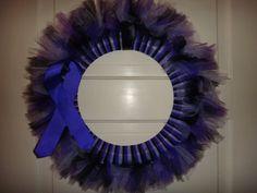 Purple Ribbon Awareness Black and Purple Tulle Wreath (Epilepsy, Cystic Fibrosis, ADHD, Rett Syndrome, Crohn's, Alzheimer's, etc)