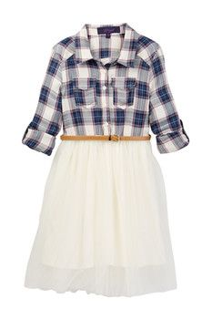 Weavers Plaid Tulle Dress (Big Girls)