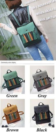 cd6ec626c3 British Style PU Tassel Bag Contrast Color Flap Solid College Backpack for  my sister !